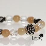 Lotas 雲系列--茶晶&粉月光手鍊(銀花朵)